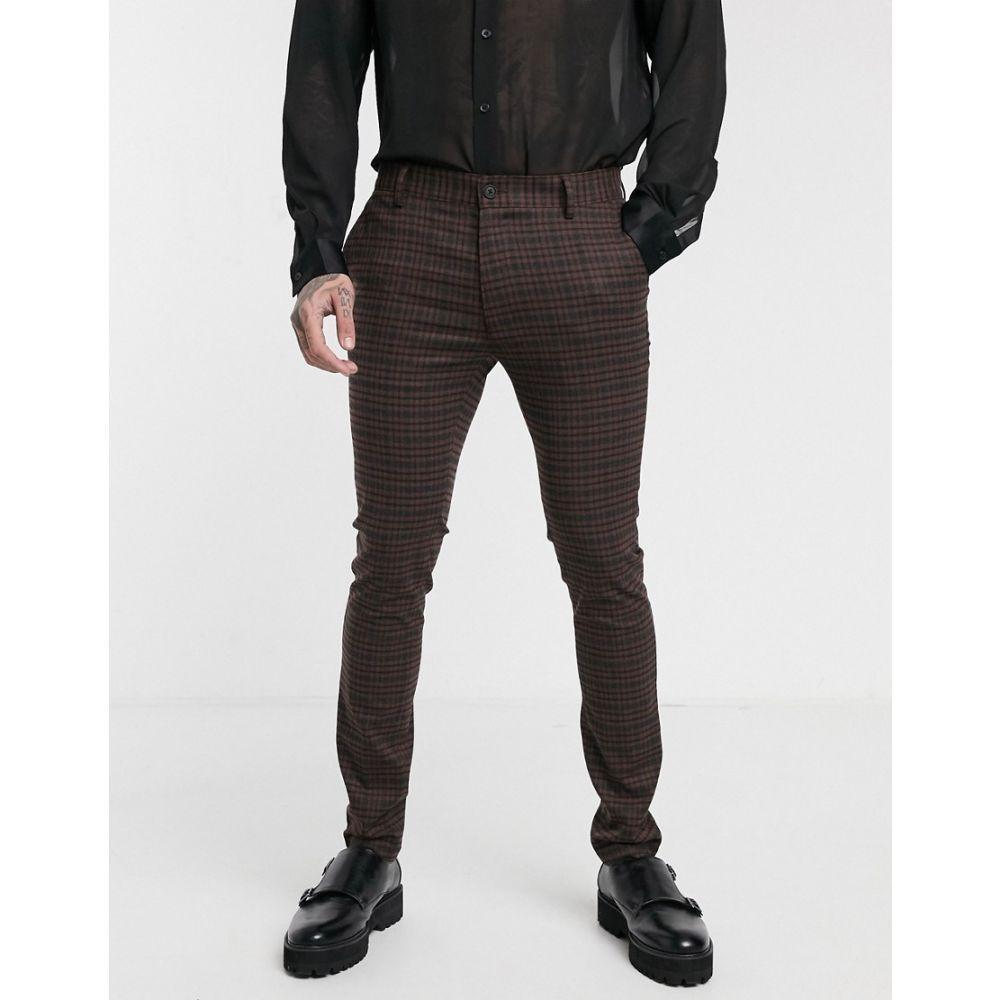 トップマン Topman メンズ スキニー・スリム ボトムス・パンツ【skinny smart trousers in brown heritage check】Brown