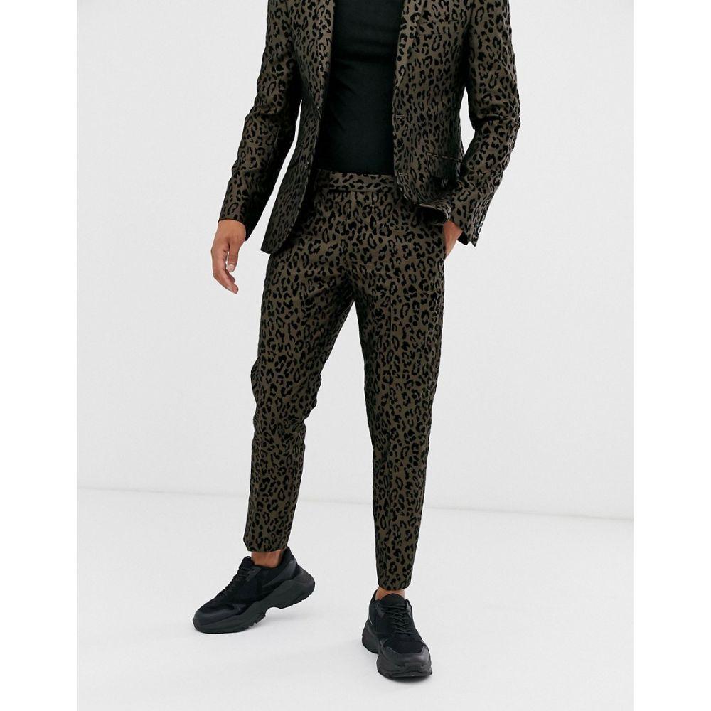 タックス ティル ドーン Tux Till Dawn メンズ スラックス ボトムス・パンツ【Tux Til Dawn leopard print skinny fit cropped suit trousers】Brown