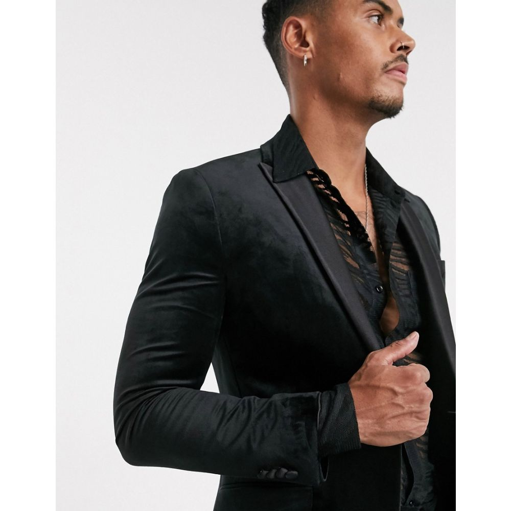 トップマン Topman メンズ スーツ・ジャケット アウター【skinny velvet blazer in black】Black