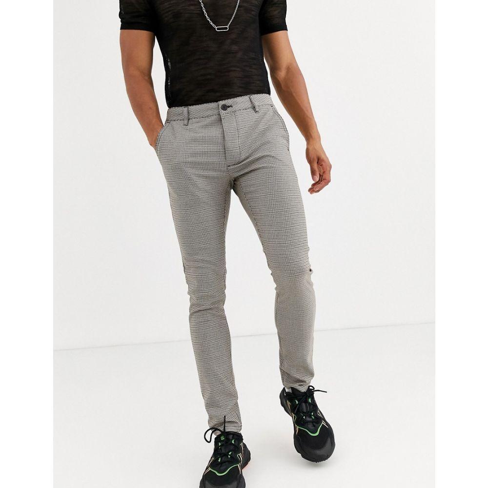トップマン Topman メンズ スキニー・スリム ボトムス・パンツ【skinny trousers in brown heritage check】Brown check