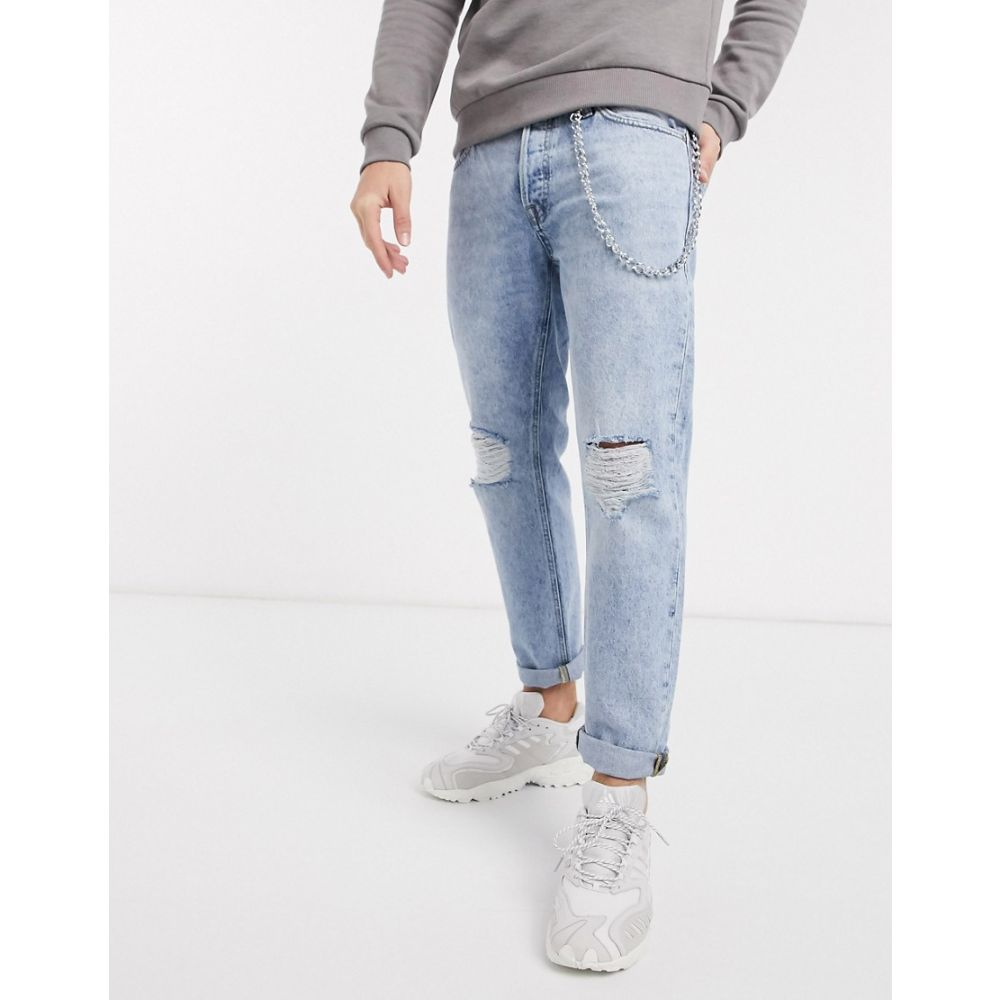 ジャック アンド ジョーンズ Jack & Jones メンズ ジーンズ・デニム リップドジーンズ ボトムス・パンツ【Intelligence comfort fit chain detail ripped jeans in acid wash】Blue denim