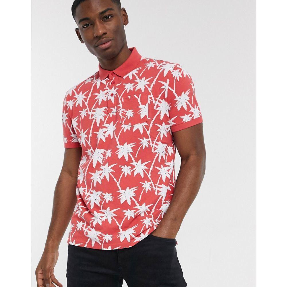 トムテイラー Tom Tailor メンズ ポロシャツ トップス【printed polo shirt】Red white big palm d