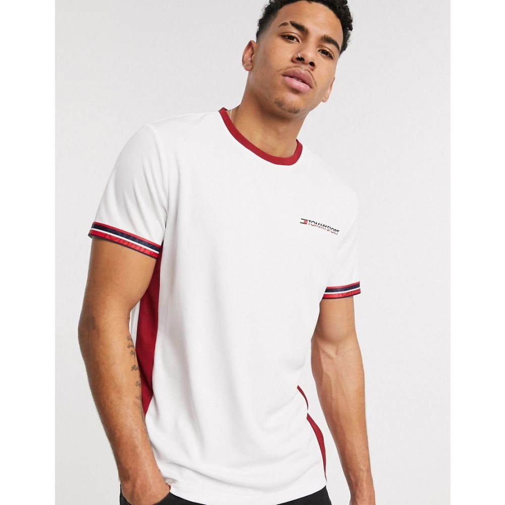 トミーヒルフィガー Tommy Sport メンズ Tシャツ トップス【s classic tipped ringer chest logo t-shirt in white】White