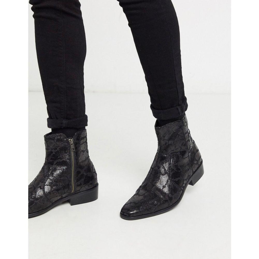 トップマン Topman メンズ ブーツ シューズ・靴【faux leather boot with cuban heel in black】Black