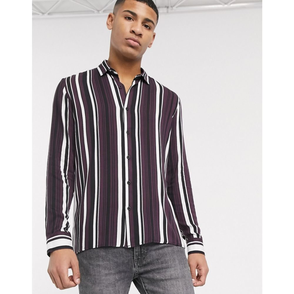 トップマン Topman メンズ シャツ トップス【long sleeve shirt with stripe burgundy & black stripe】Red