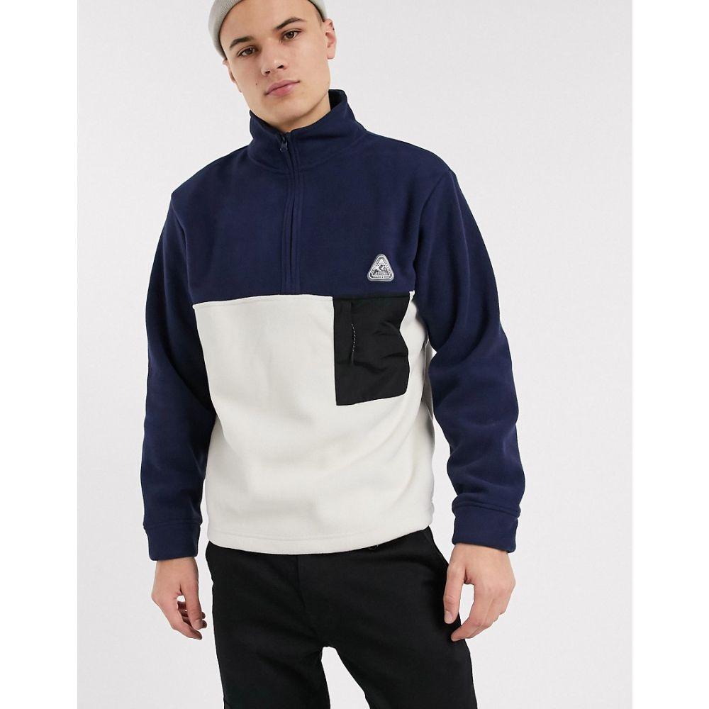 トップマン Topman メンズ フリース トップス【fleece jumper in navy & ecru】Navy