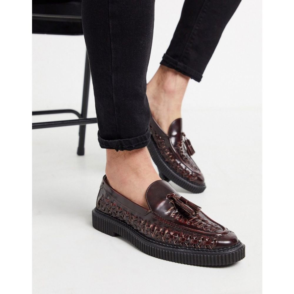 ハウスオブハウンズ House of Hounds メンズ ローファー シューズ・靴【orion woven loafers in Burgundy leather】Burgundy