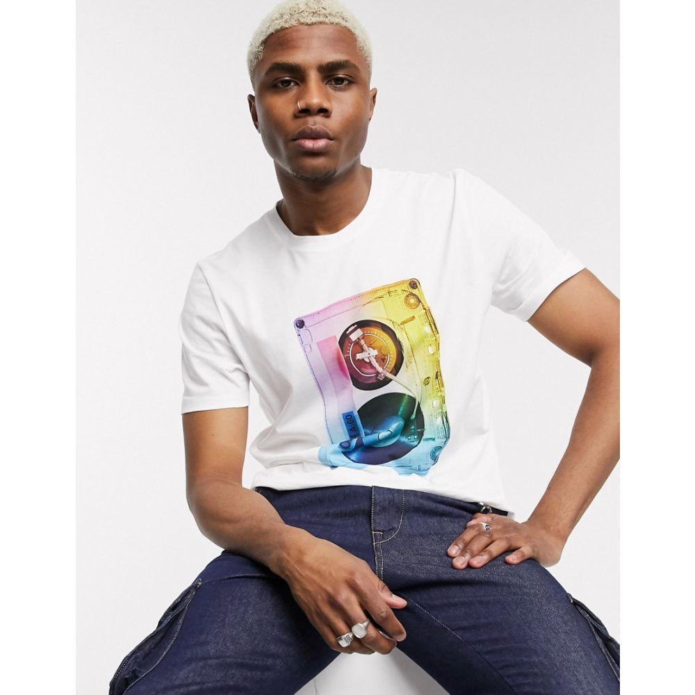 ヒューゴ ボス HUGO メンズ Tシャツ トップス【Dours casette tape print t-shirt in white】White