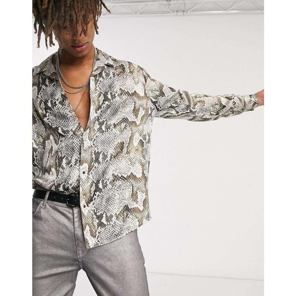 ハートアンドダガー Heart & Dagger メンズ シャツ トップス【snake print shirt with long sleeves】Grey
