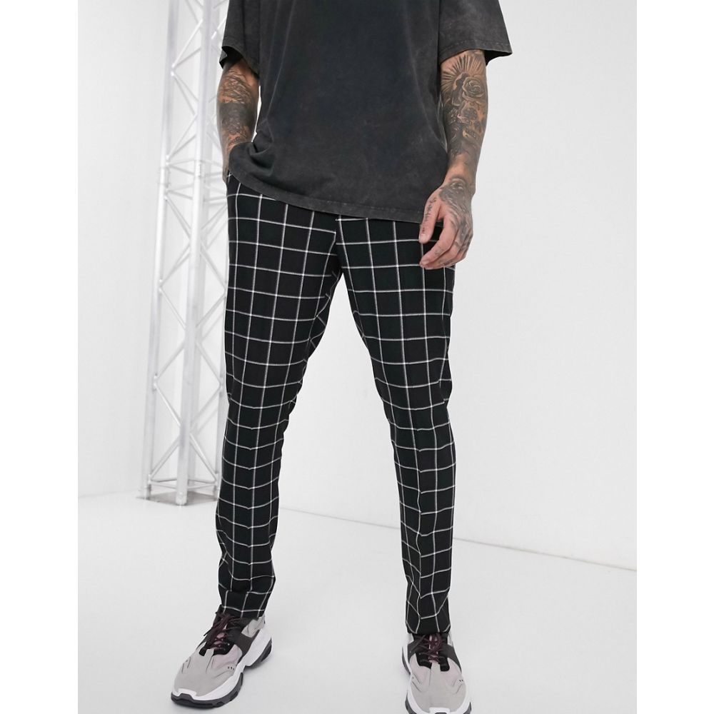 ブーフー boohooMAN メンズ ボトムス・パンツ 【windowpane check smart trouser in black】Black