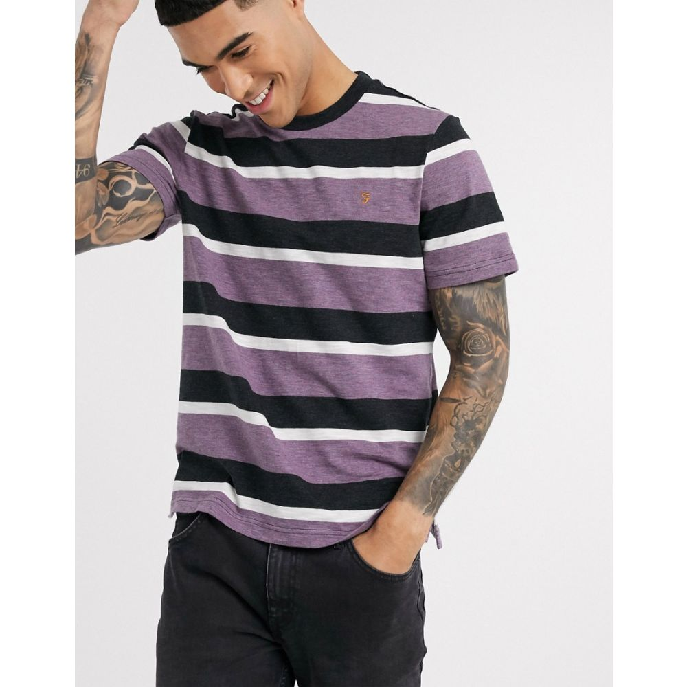 ファーラー Farah メンズ Tシャツ トップス【Celtic stripe t-shirt in purple】Red