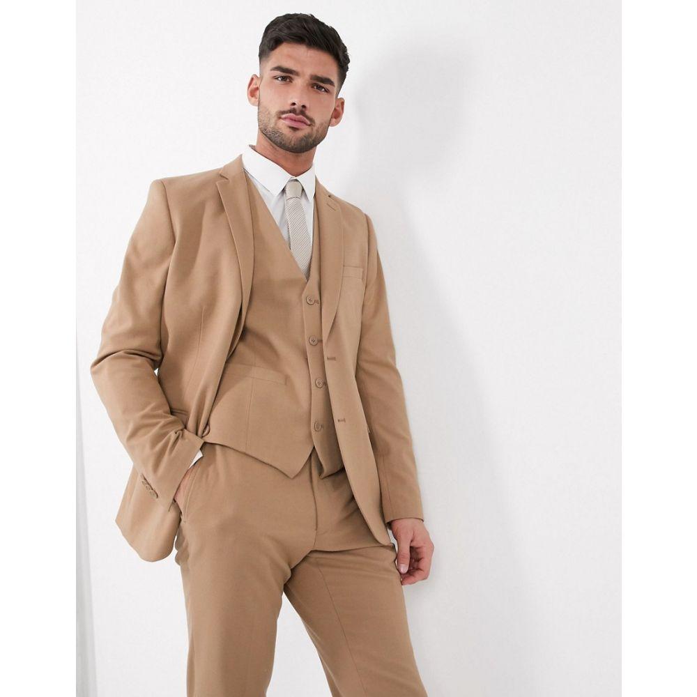 フレンチコネクション French Connection メンズ スーツ・ジャケット アウター【wedding slim fit flannel suit jacket】Camel