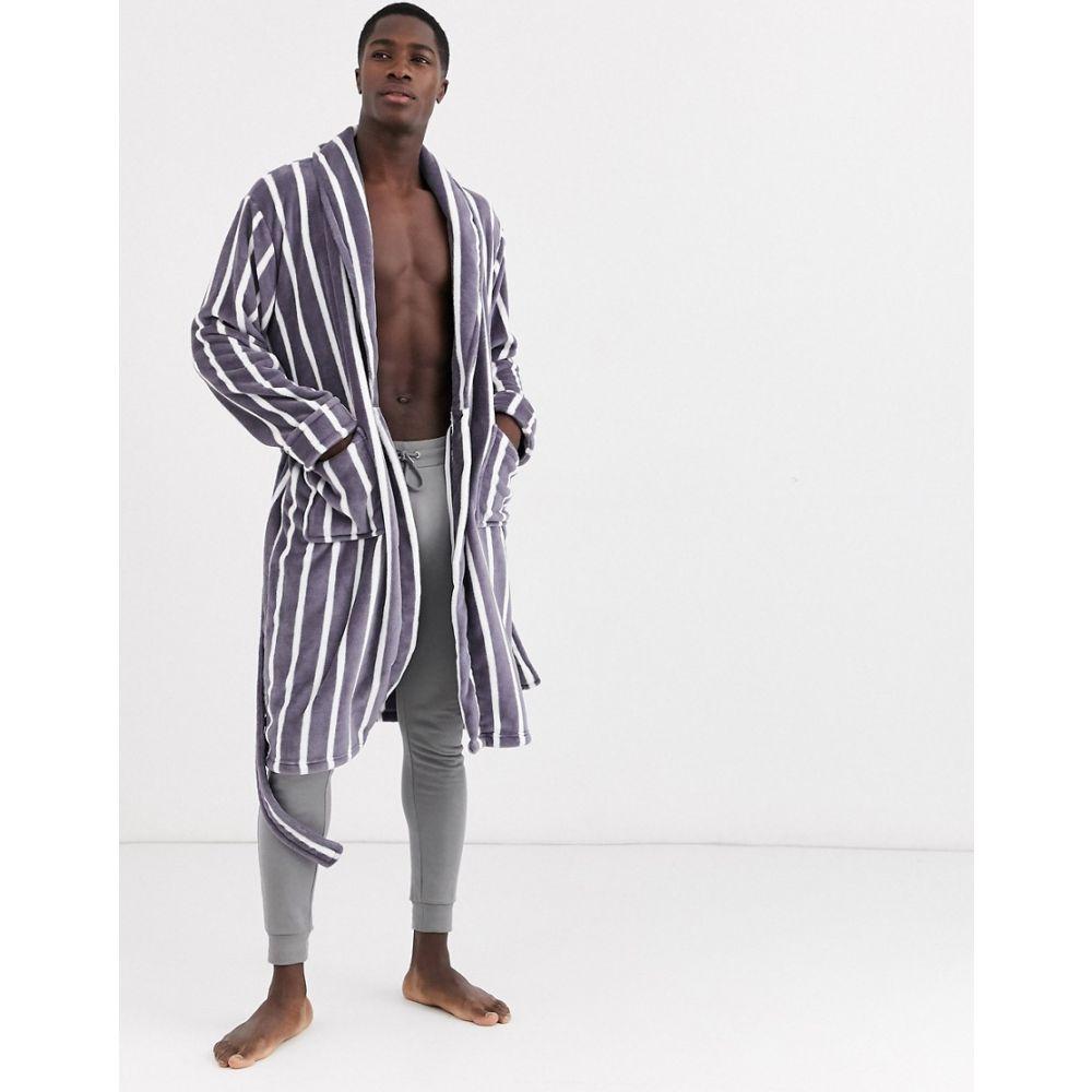 フレンチコネクション French Connection メンズ ガウン・バスローブ インナー・下着【robe in grey stripe】Mid grey/ecru