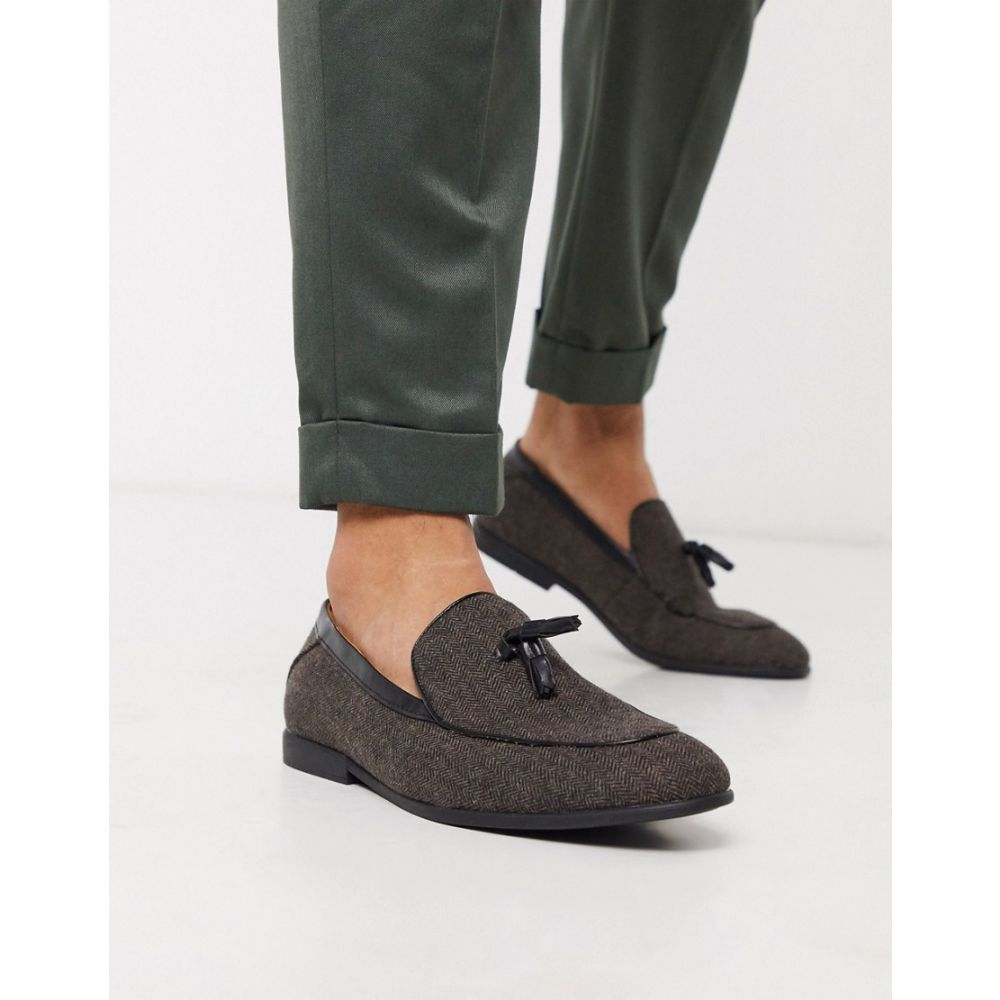 モス ブラザーズ MOSS BROS メンズ ローファー シューズ・靴【Moss London loafers with tassels in brown herringbone】Brown