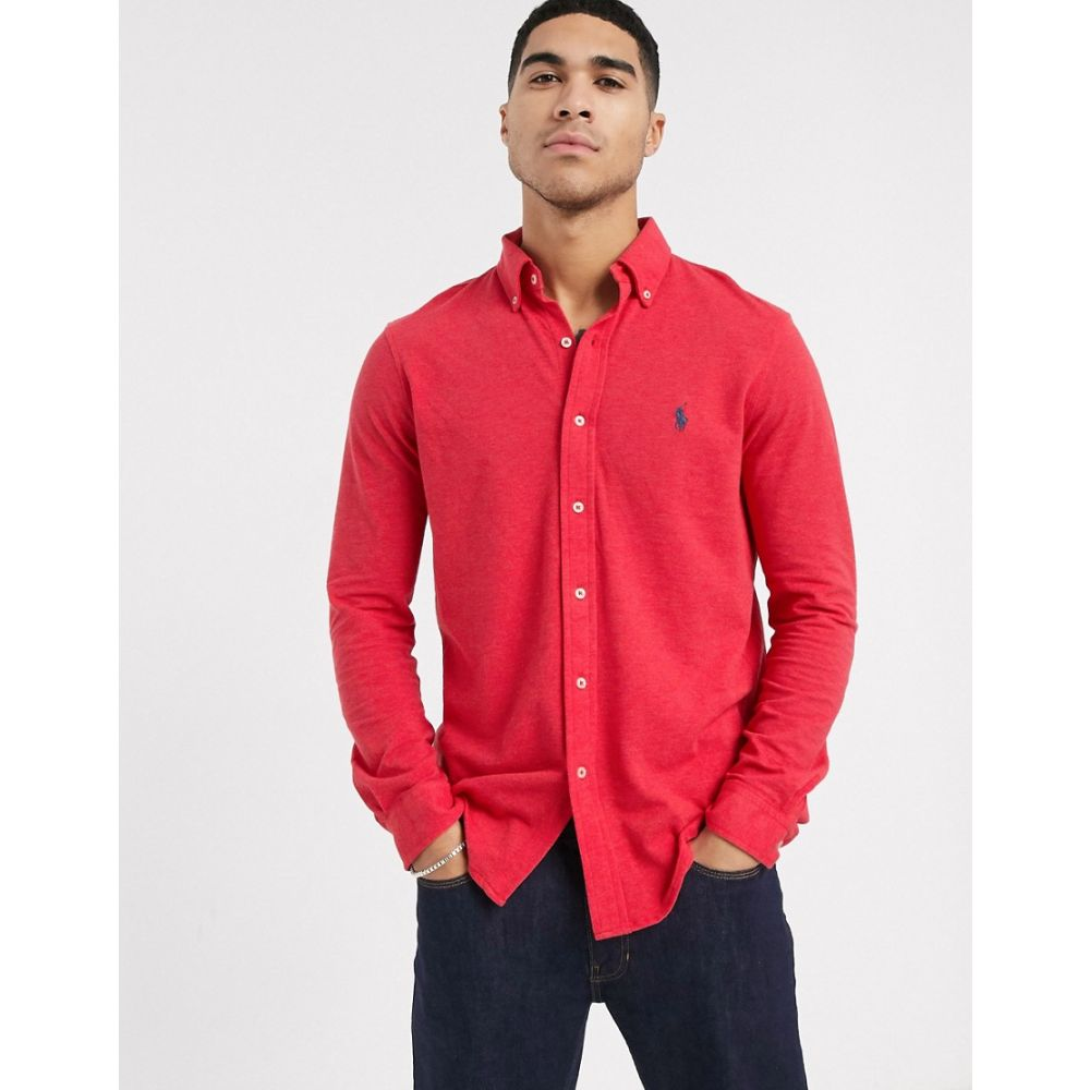 ラルフ ローレン Polo Ralph Lauren メンズ シャツ トップス【slim fit pique shirt in red marl with logo】Rosette heather