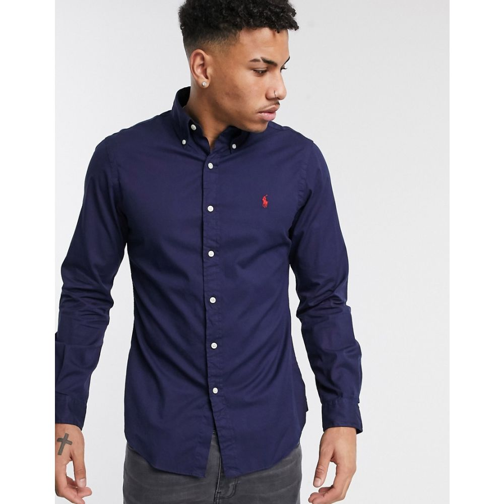 ラルフ ローレン Polo Ralph Lauren メンズ シャツ トップス【slim fit shirt in navy garment dye with logo】Cruise navy