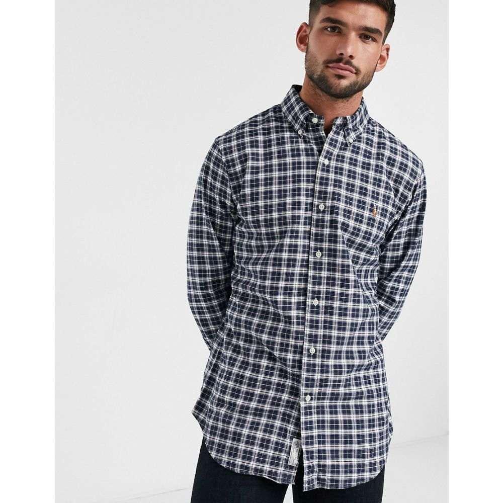 ラルフ ローレン Polo Ralph Lauren メンズ シャツ トップス【custom fit oxford check shirt in multi with logo】Navy white check