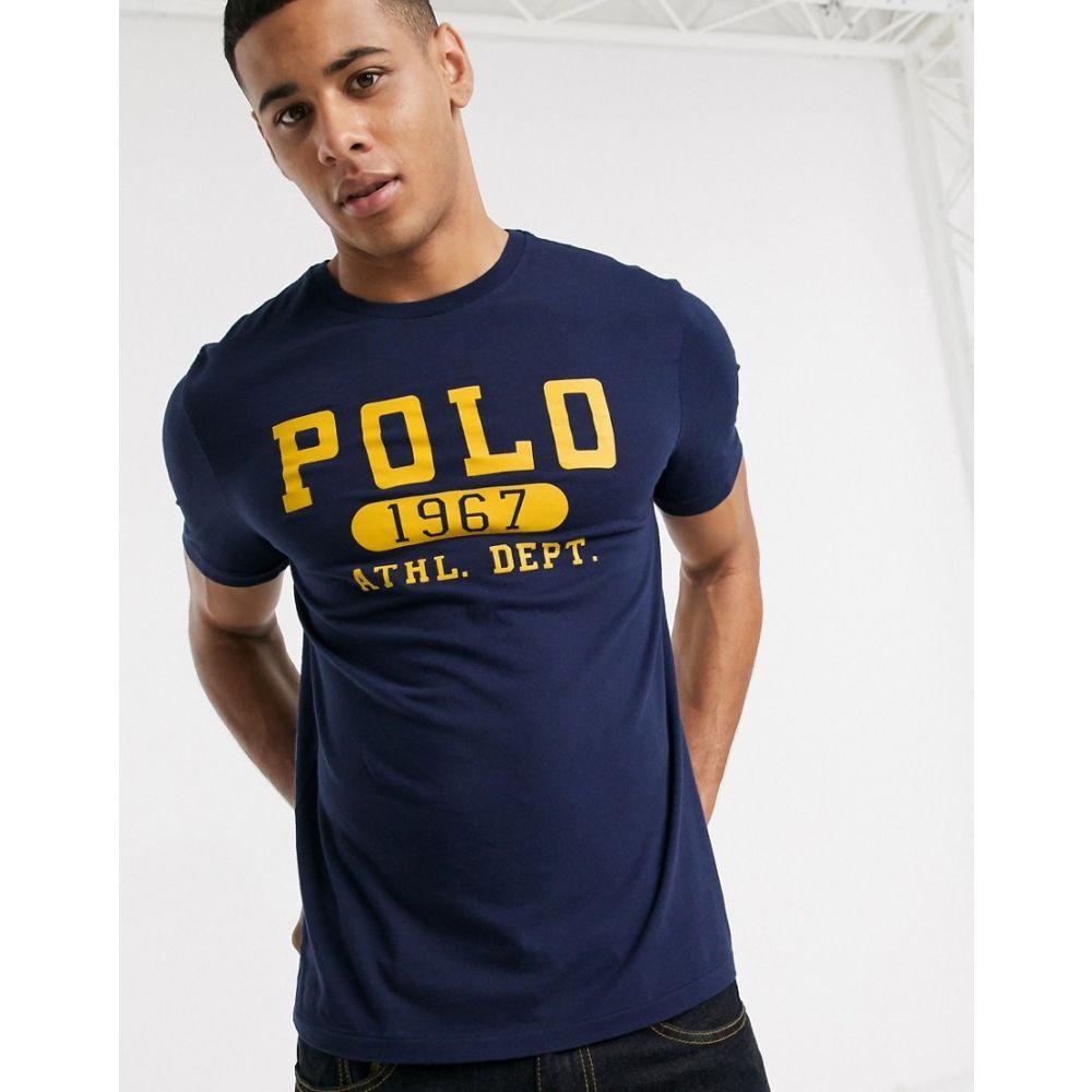 ラルフ ローレン Polo Ralph Lauren メンズ Tシャツ トップス【t-shirt in navy with flock logo】Cruise navy