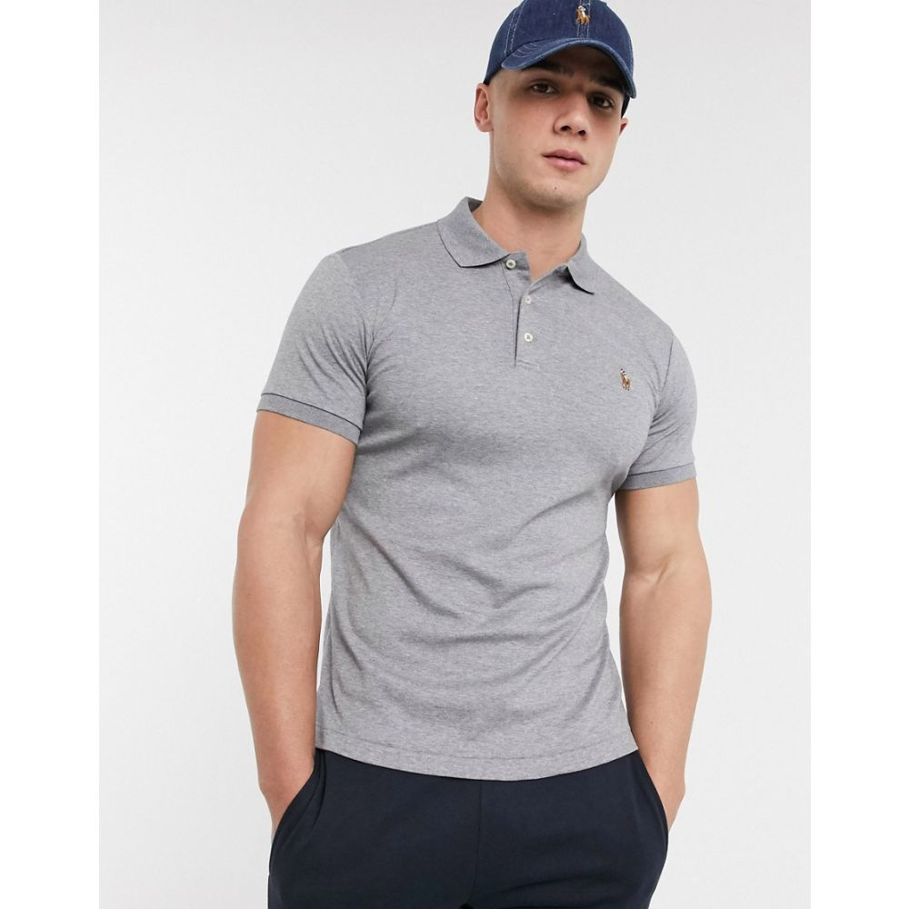 ラルフ ローレン Polo Ralph Lauren メンズ ポロシャツ トップス【slim fit pima polo in grey with logo】Steel heather