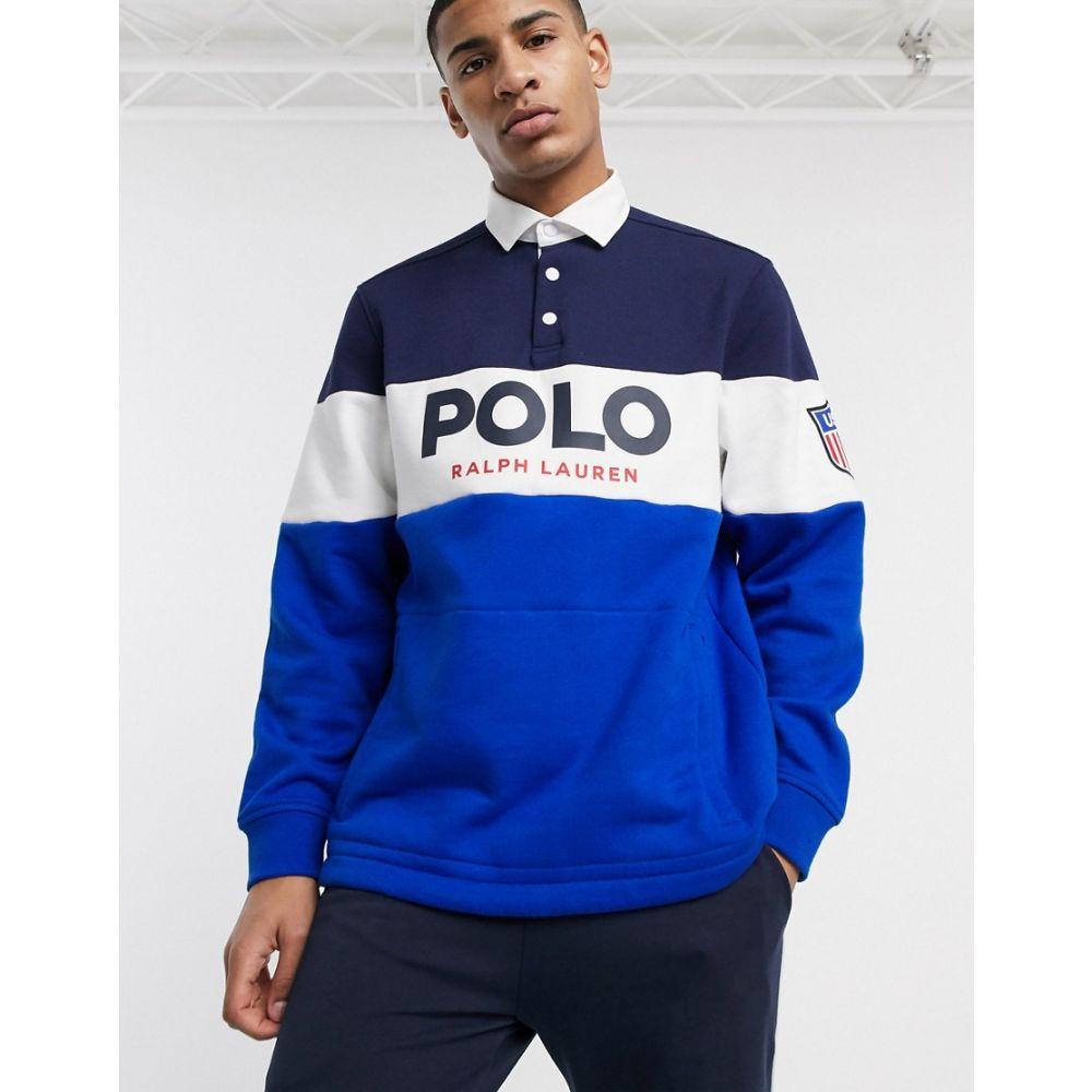 ラルフ ローレン Polo Ralph Lauren メンズ ポロシャツ トップス【rugby polo sweatshirt in navy chest panel】Newport navy multi