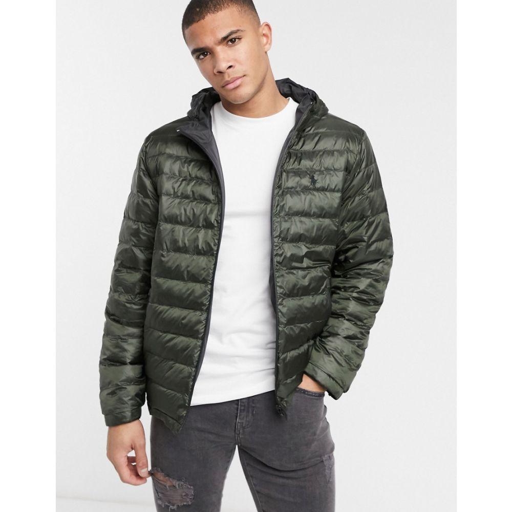 ラルフ ローレン Polo Ralph Lauren メンズ ダウン・中綿ジャケット フード アウター【reversible player logo hooded puffer jacket in navy green/black】College navy