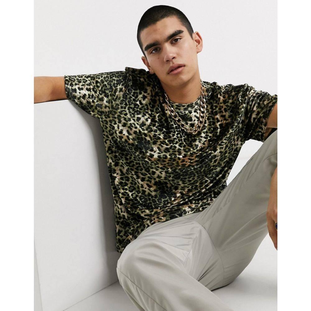 ミルクイット Milk It メンズ Tシャツ トップス【Vintage leopard faux fur t-shirt in leopard】Brown