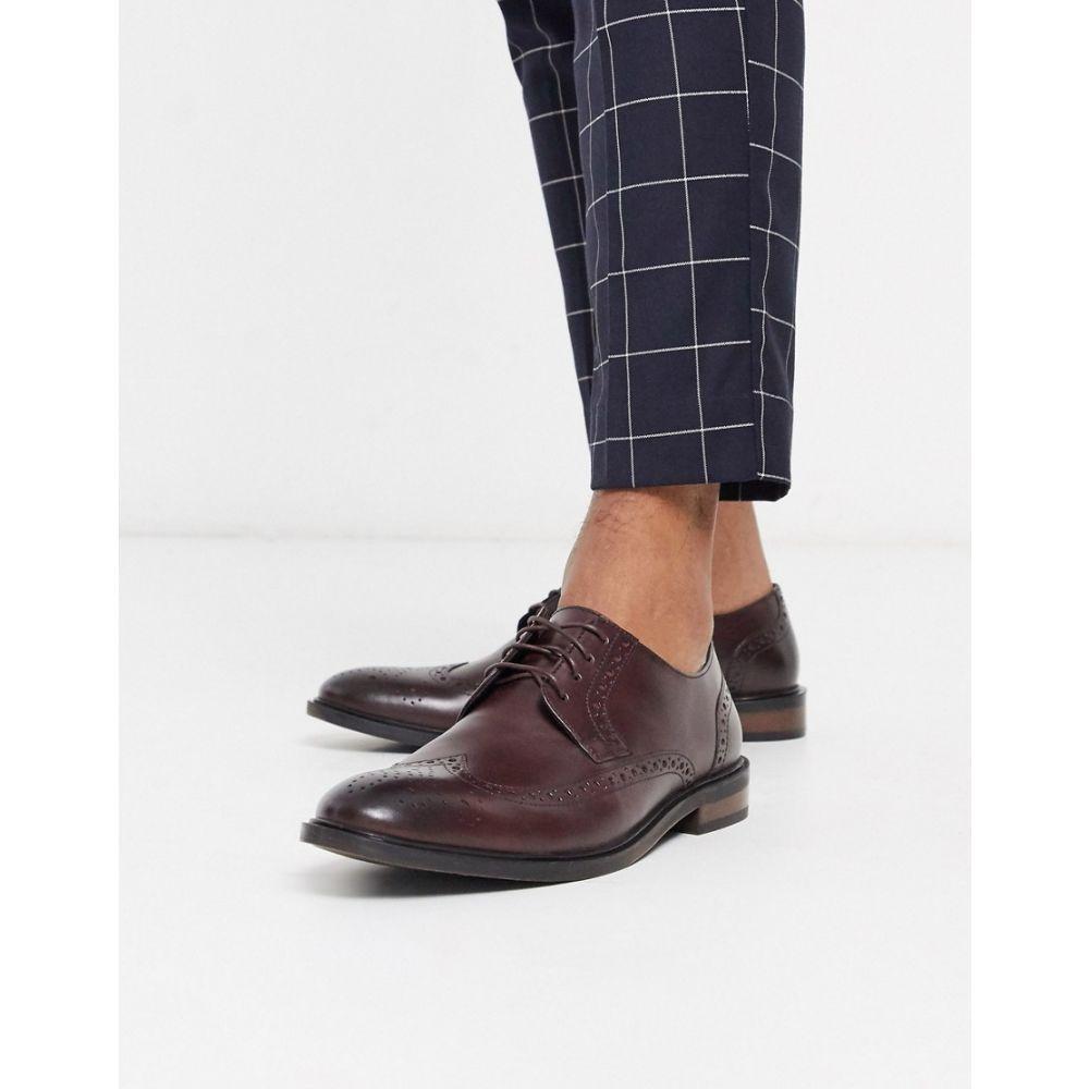 モス ブラザーズ MOSS BROS メンズ 革靴・ビジネスシューズ メダリオン ダービーシューズ シューズ・靴【Moss London brogue derby shoe in burgundy】Burgundy