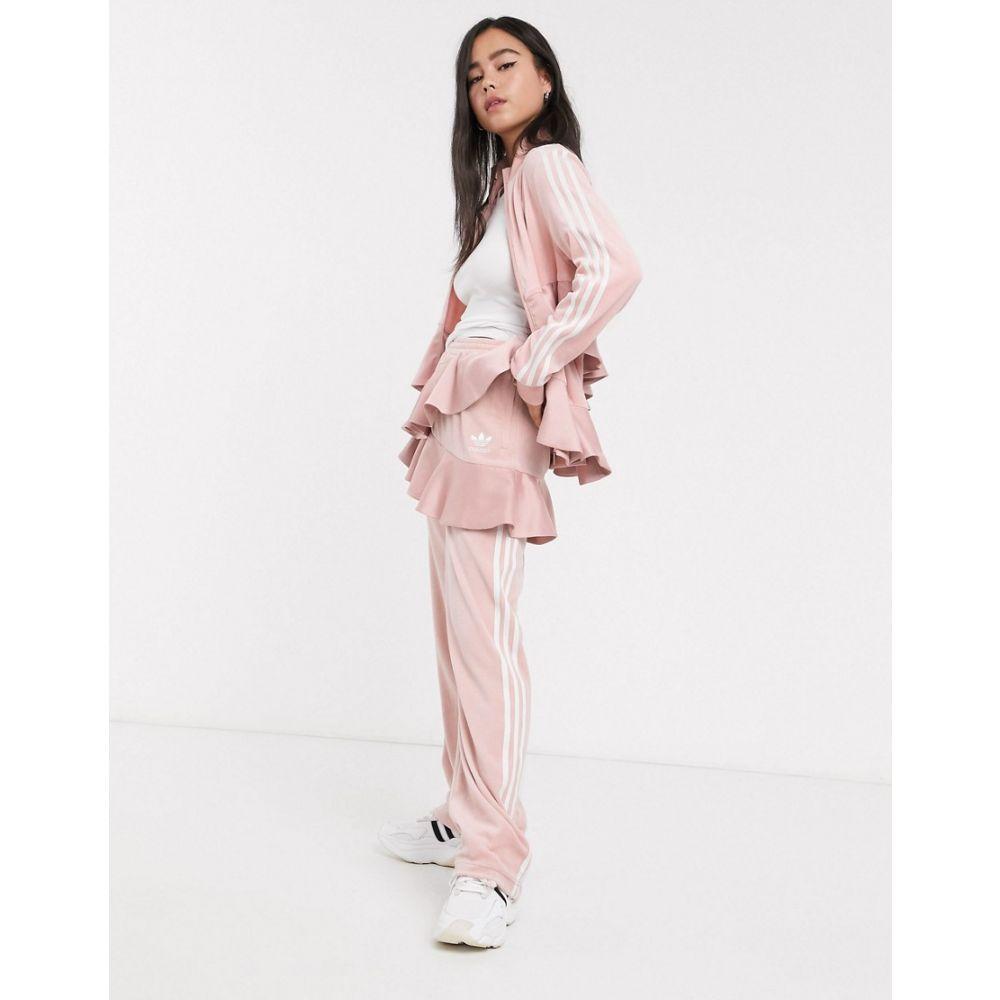 アディダス adidas Originals レディース スウェット・ジャージ ボトムス・パンツ【x J KOO velour trefoil ruffle track pant in pink】Pink