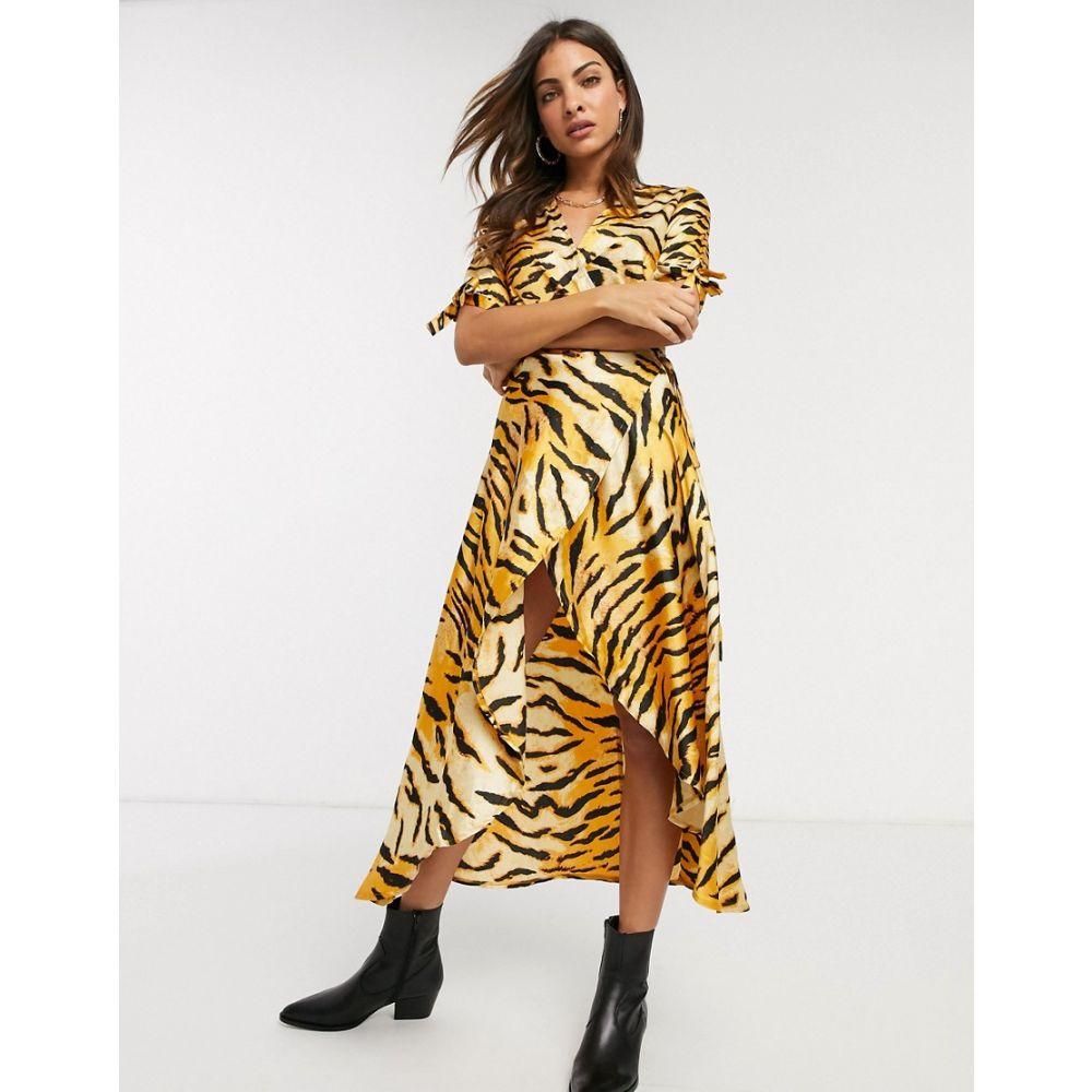 アックスパリス AX Paris レディース ワンピース ラップドレス ミドル丈 ワンピース・ドレス【wrap midi dress in tiger print】Multi