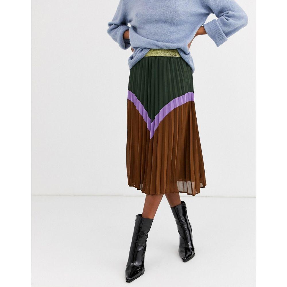 イチ Ichi レディース スカート 【chevron colour block skirt with gold waistband】Duffel bag
