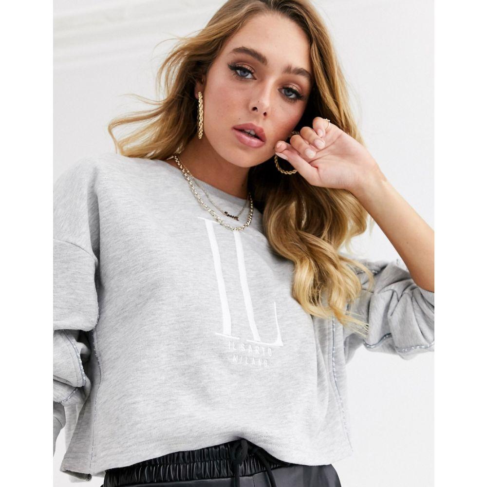 イルサルト Il Sarto レディース ニット・セーター トップス【cropped logo sweater】Grey