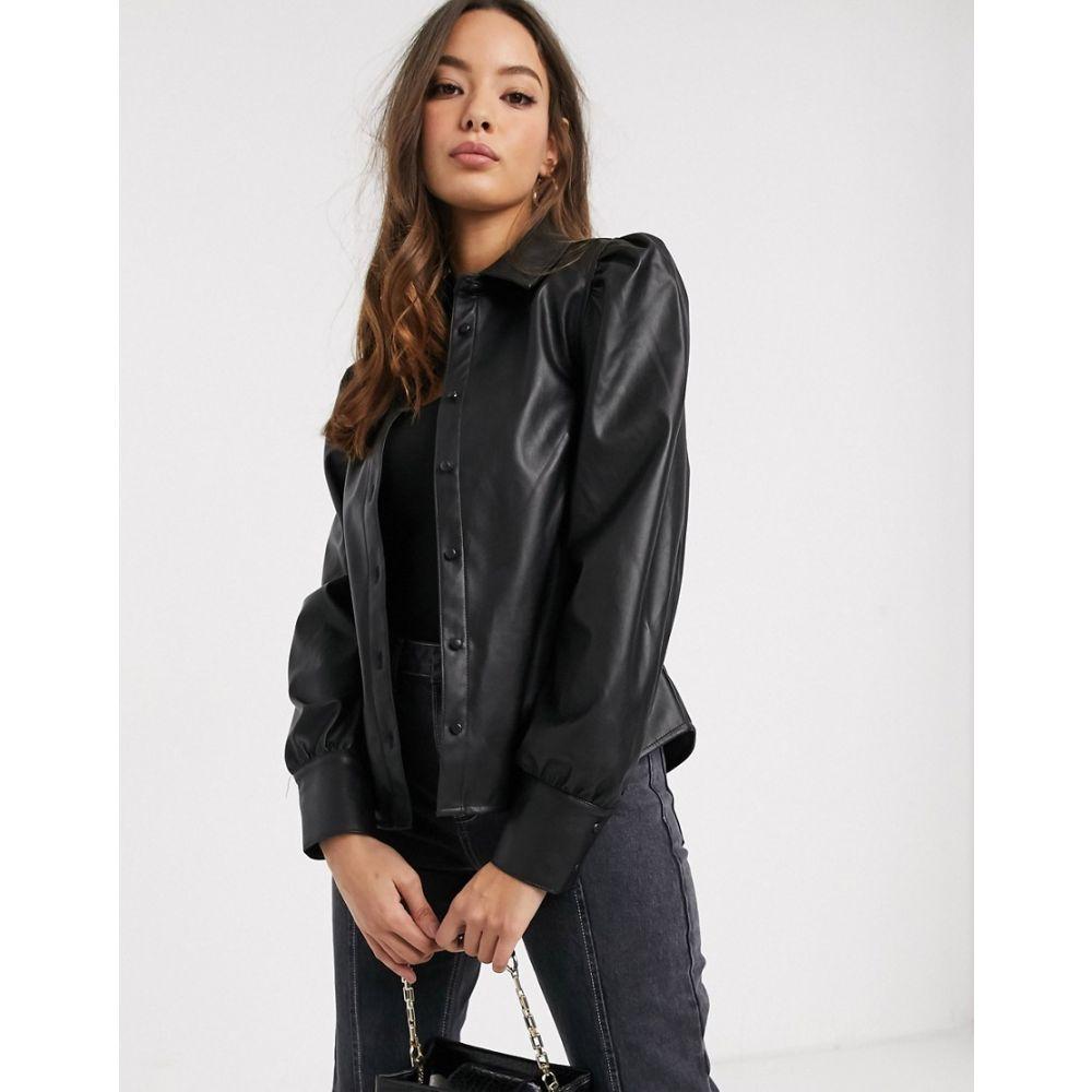 ヴェロモーダ Vero Moda レディース ブラウス・シャツ トップス【leather look shirt with puff sleeve in black】Black