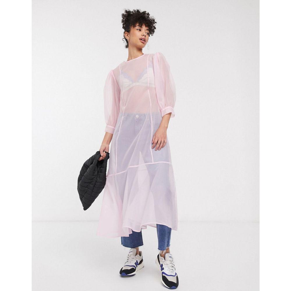 ウィークデイ Weekday レディース ワンピース ミドル丈 ワンピース・ドレス【organza puff sleeve midi dress in light pink】Light pink
