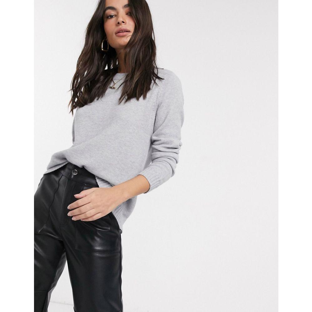ヴィラ Vila レディース ニット・セーター トップス【knitted jumper with tie back in grey】Grey