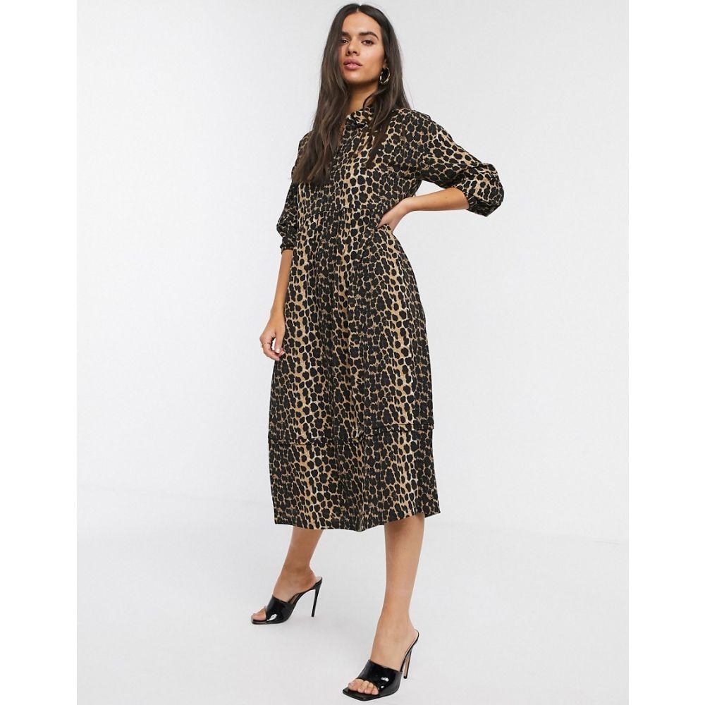 ヴェロモーダ Vero Moda レディース ワンピース シャツワンピース ワンピース・ドレス【midi shirt dress with puff sleeves in leopard print】Multi