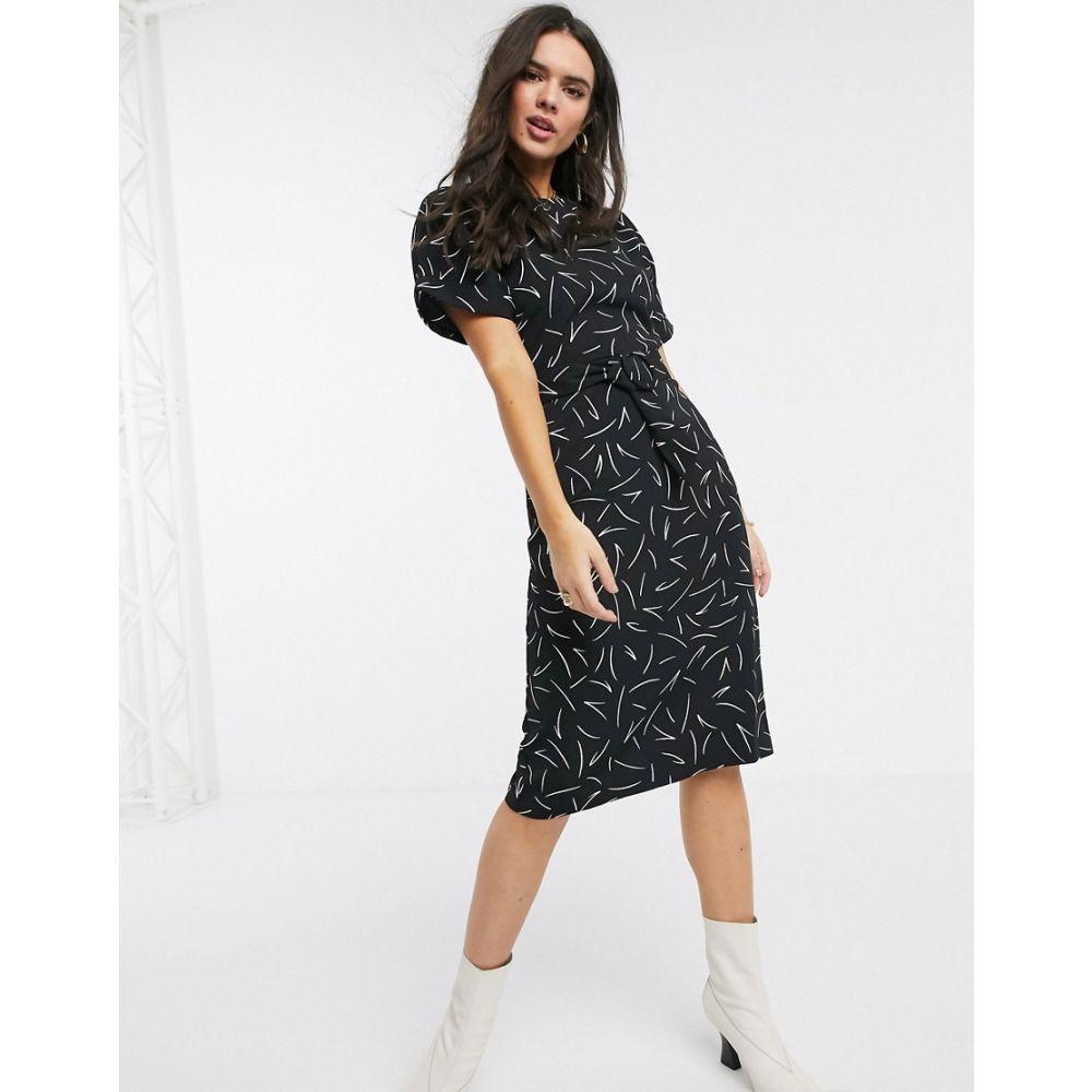 ウェアハウス Warehouse レディース ワンピース シフトドレス ワンピース・ドレス【linear print shift dress in black】Black