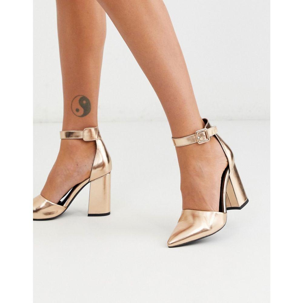 ロンドン レーベル London Rebel レディース シューズ・靴 【pointed block heeled shoes in rose gold】Rose gold snake