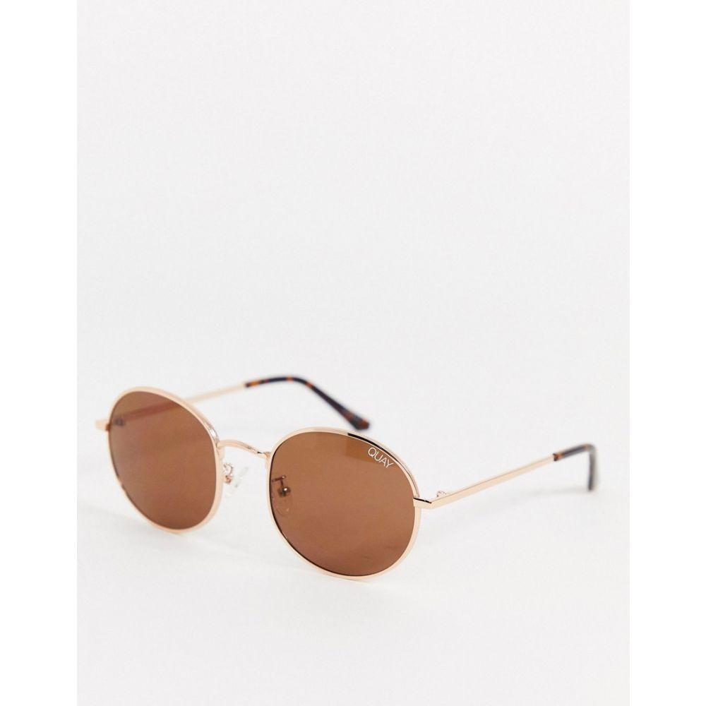 キー オーストラリア Quay Australia ユニセックス メガネ・サングラス ラウンド【Modstar round sunglasses in gold】Gold