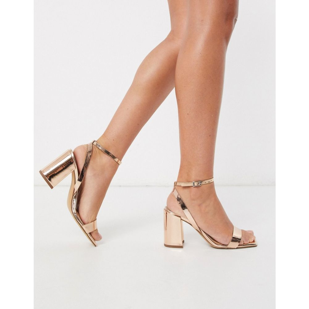 エイソス ASOS DESIGN レディース サンダル・ミュール シューズ・靴【Havana barely there block heeled sandals in rose gold】Rose gold