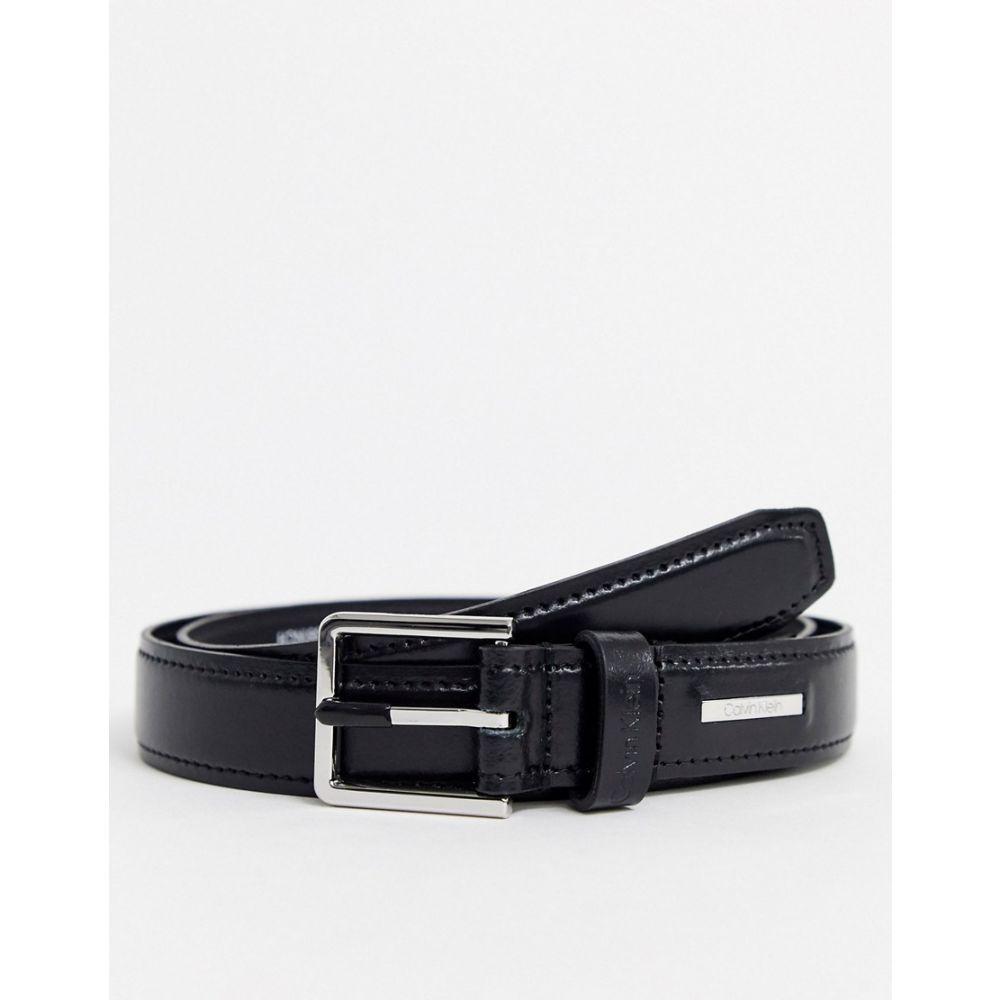 カルバンクライン Calvin Klein メンズ ベルト 【stitched leather belt in black】Black