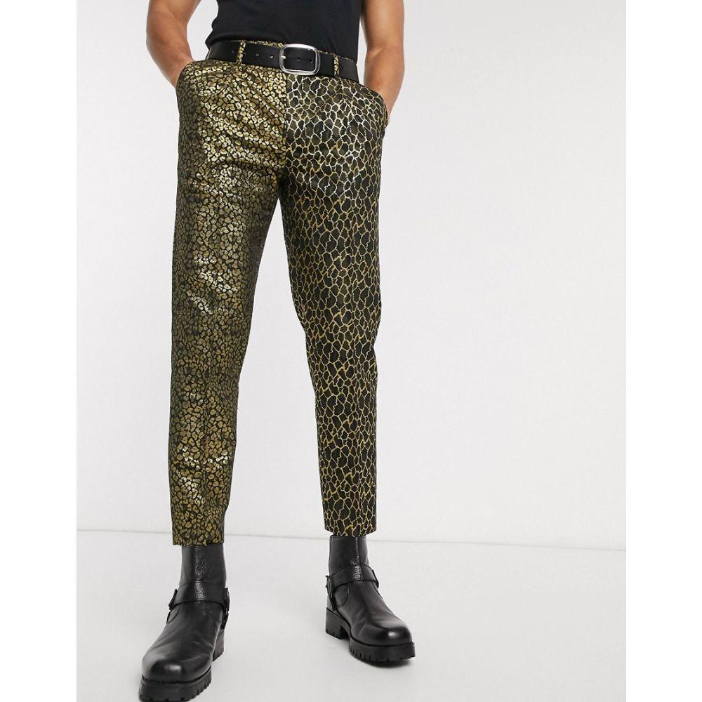 エイソス ASOS DESIGN メンズ クロップド ボトムス・パンツ【slim crop trousers with half and half animal jacquard in black】Black
