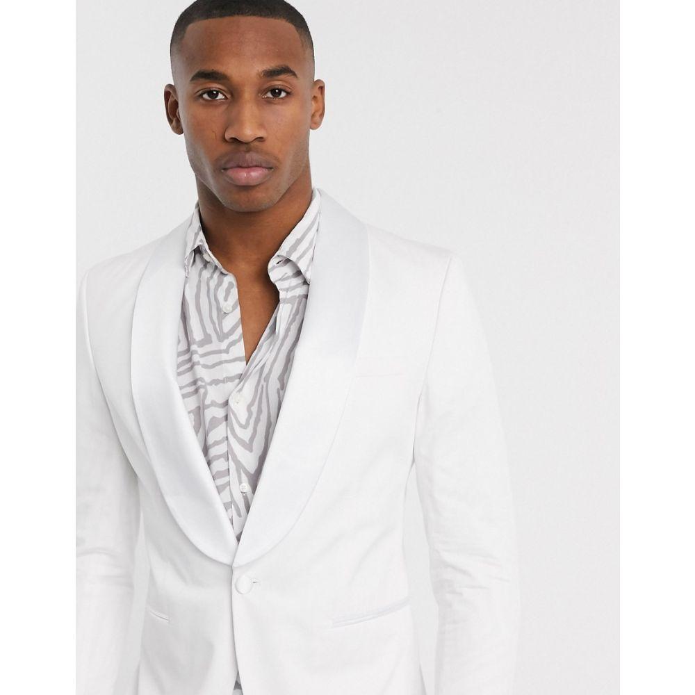 ジャック アンド ジョーンズ Jack & Jones メンズ ジャケット アウター【Premium satin shawl lapel tux jacket in white】White