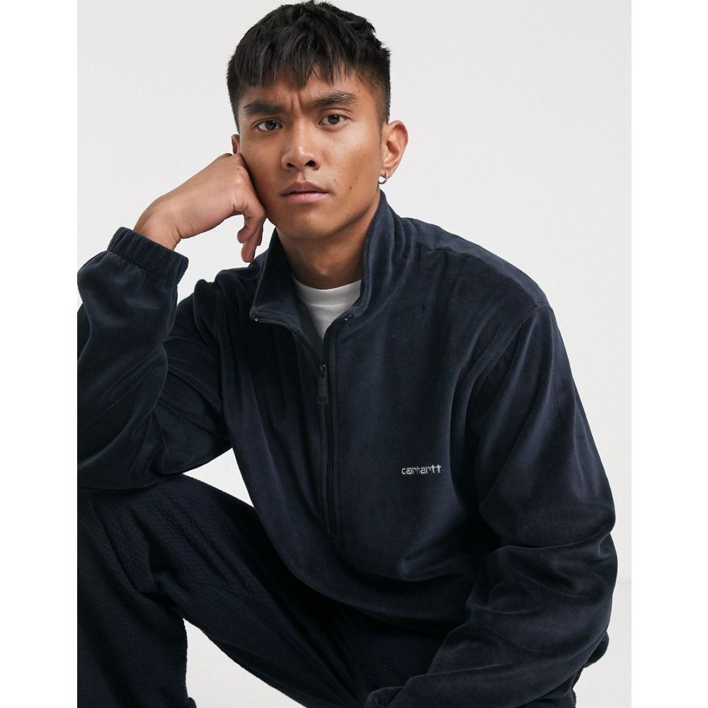 カーハート Carhartt WIP メンズ フリース トップス【Tila fleece pullover in dark navy】Dark navy/white