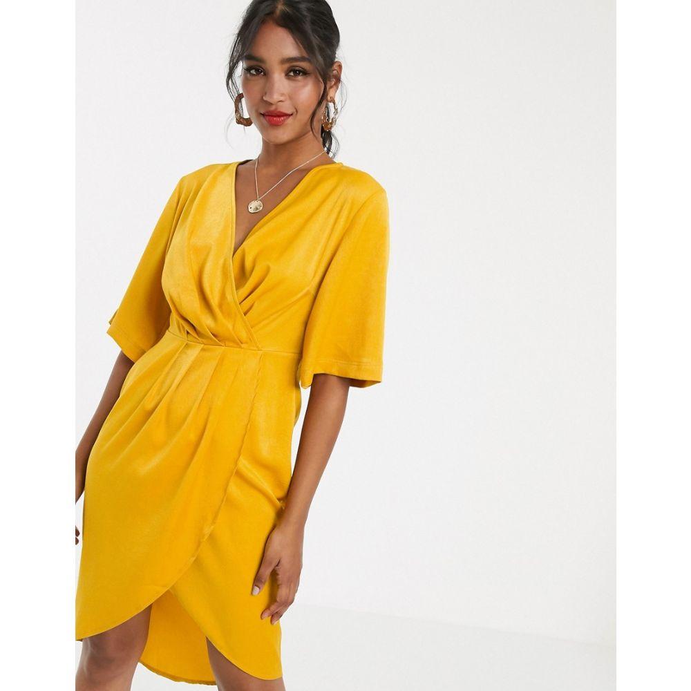 ユニーク21 UNIQUE21 レディース ワンピース ラップドレス ミドル丈 ワンピース・ドレス【Unique21 luxe stain pleated wrap midi dress】Yellow