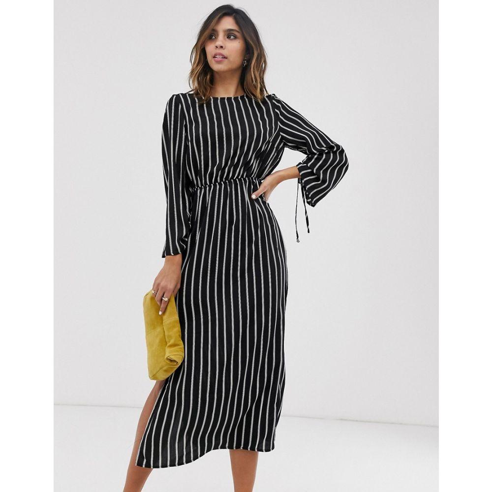 ユニーク21 UNIQUE21 レディース ワンピース ワンピース・ドレス【Unique21 stripe long sleeve dress】Black/white