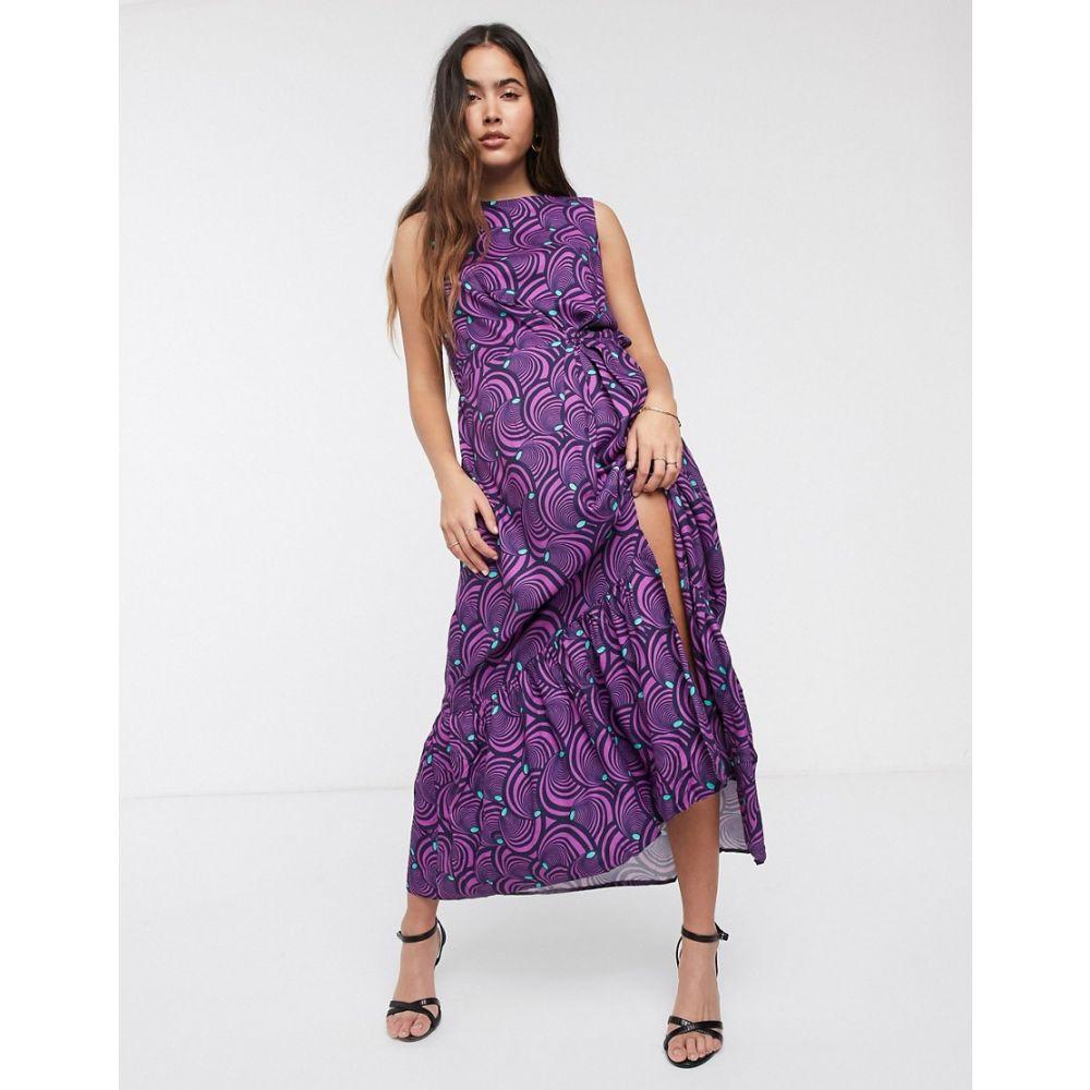 クローゼットロンドン Closet London レディース ワンピース ワンピース・ドレス【Closet pleat detail floral dress】Purple