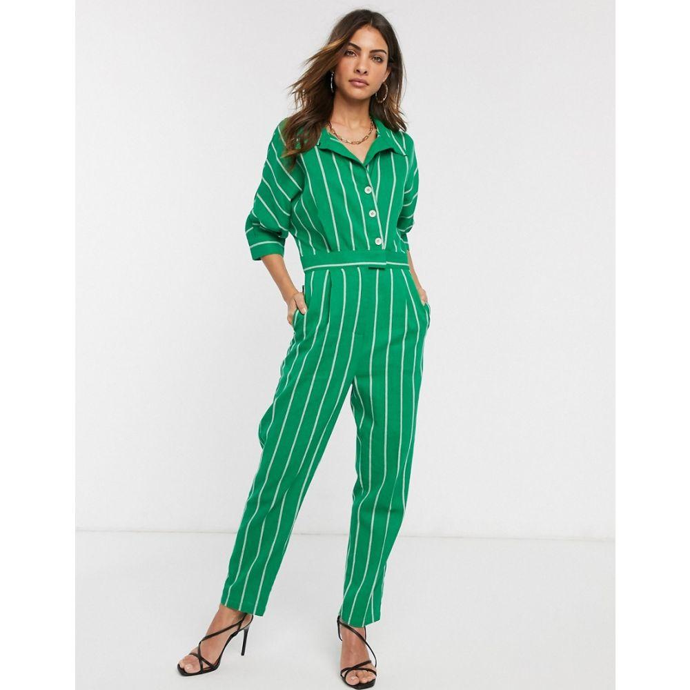 リカリッシュ Liquorish レディース オールインワン ジャンプスーツ ワンピース・ドレス【button front jumpsuit in green stripe】Green white