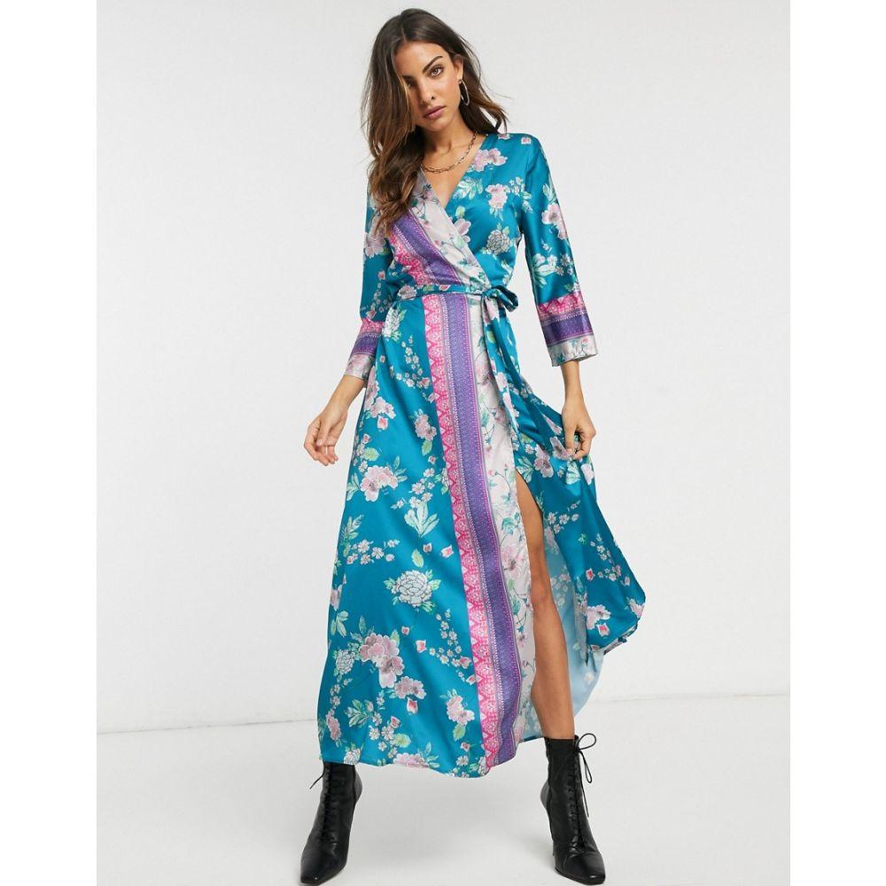 リカリッシュ Liquorish レディース ワンピース ラップドレス ワンピース・ドレス【midaxi wrap dress in mixed floral and border print】Blue