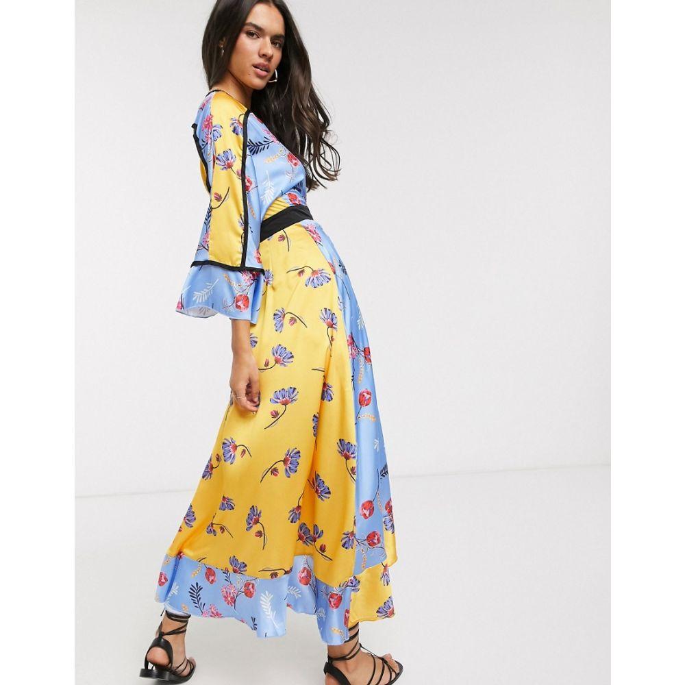 リカリッシュ Liquorish レディース ワンピース ラップドレス ワンピース・ドレス【wrap front maxi dress in mixed floral print】Blue floral