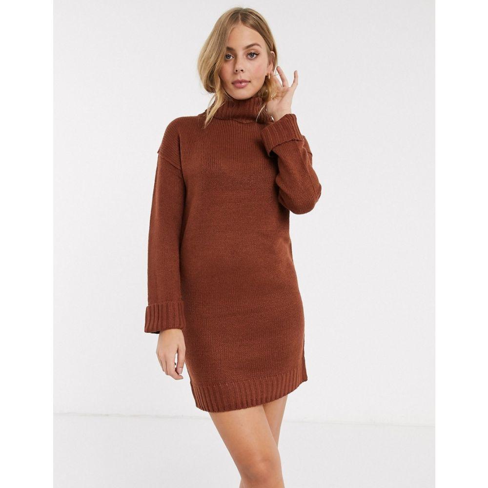 ブレイブソウル Brave Soul レディース ワンピース ワンピース・ドレス【tangy roll neck jumper dress in brown】Rich brown